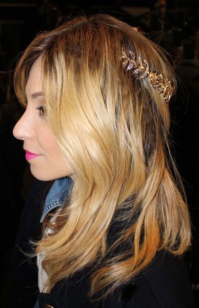 Fashion Stylist, Betty Gulko with headband worn at the back of her head.