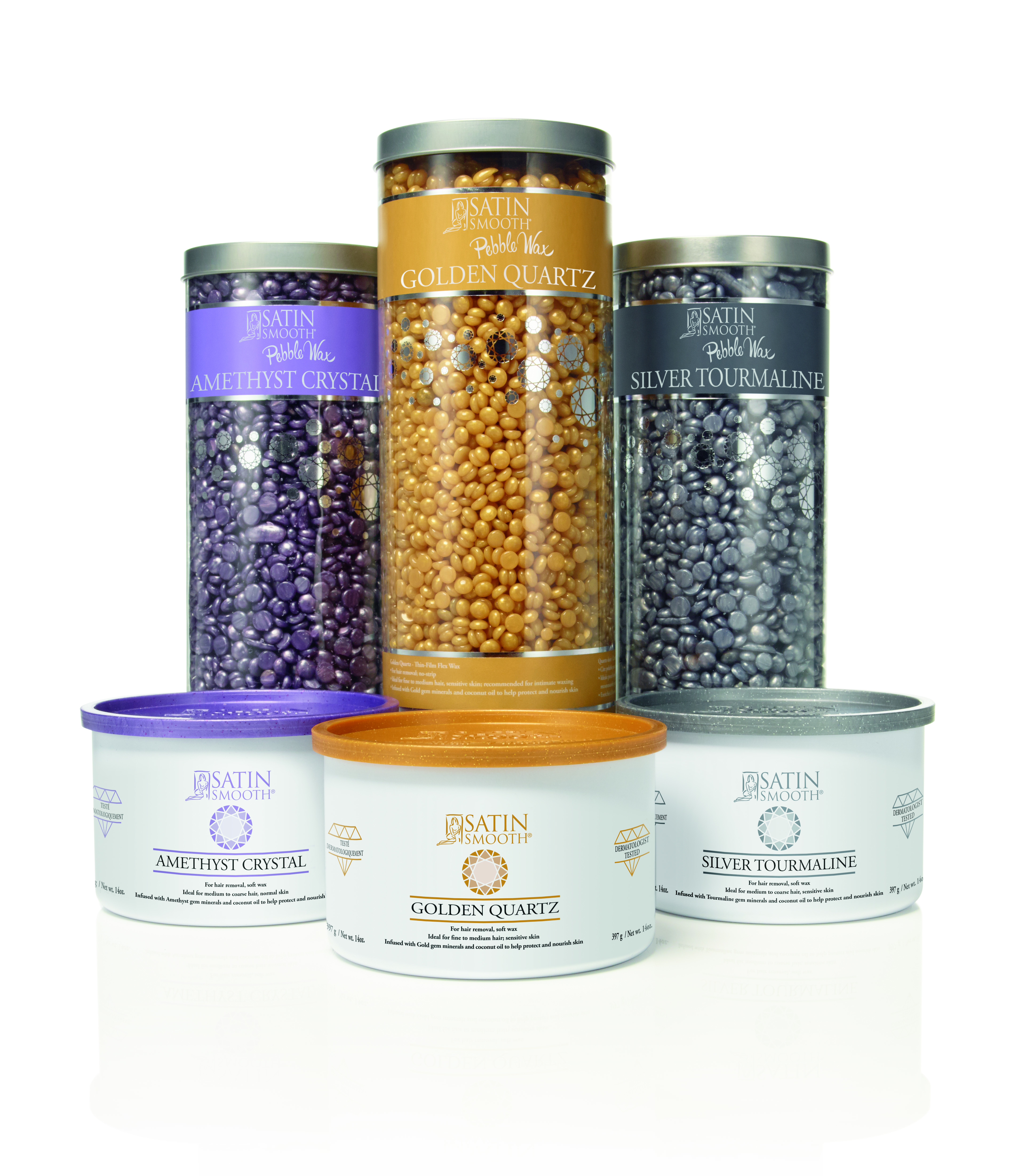Golden Quartz - Ideal for fine to medium hair, sensitive skin; Amethyst Crystal - Ideal for medium to coarse hair, normal skin; Silver Tourmaline - Ideal for medium to coarse hair, sensitive skin.