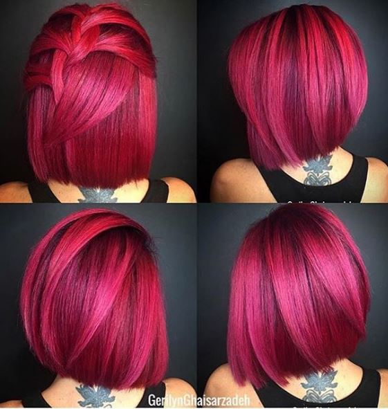 This pink hair shows its versatility with different angles..and it looks great in all four shots!