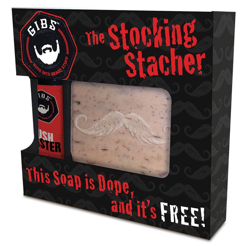 "Gibs talks men's language on the Stocking Stacher box: ""This Soap is Dope, and it's FREE!"""