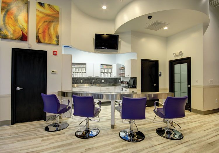 At Ginger Bay, the new color bar draws the client into the color experience, which helps boost color service sales.