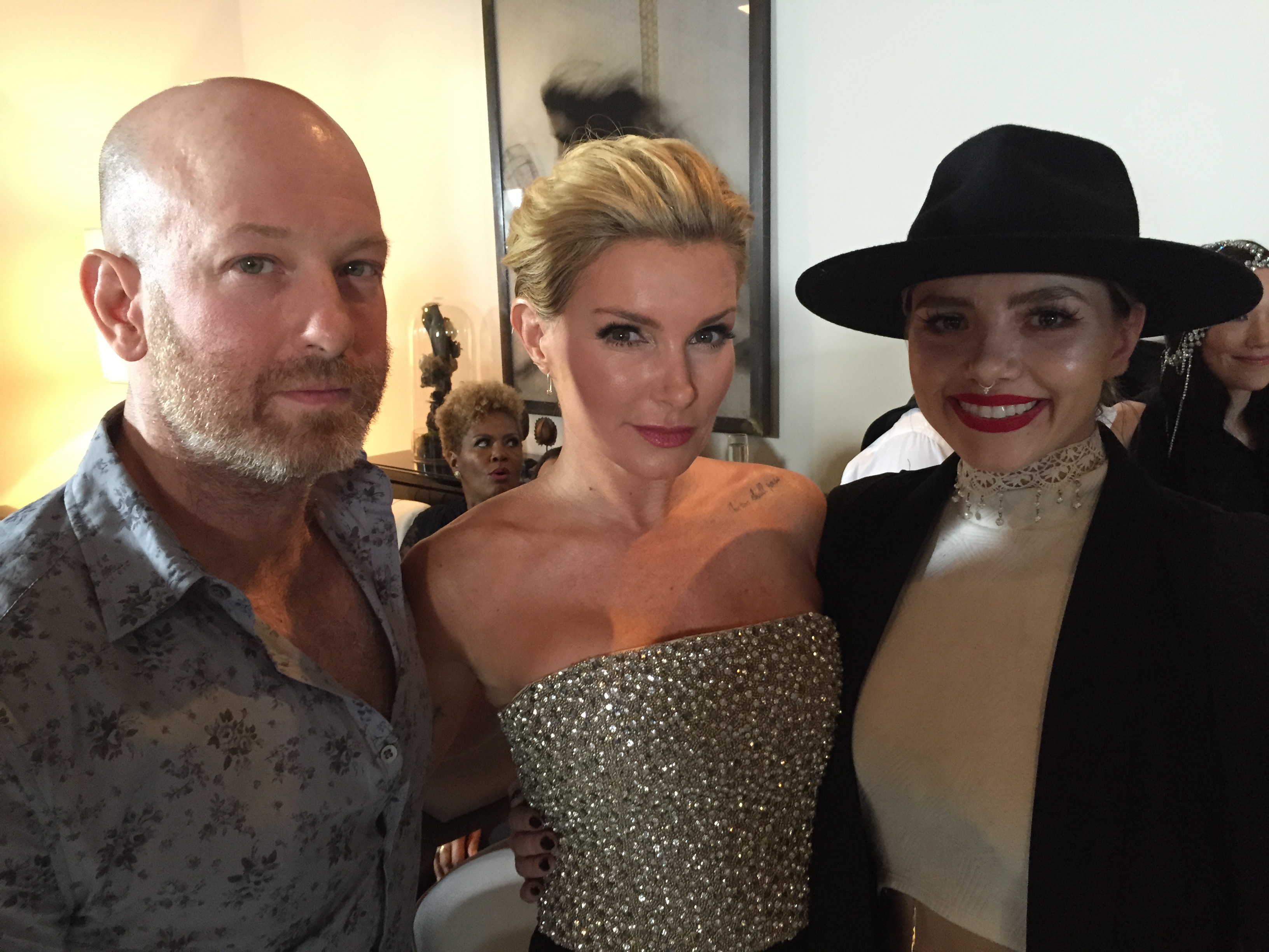 Charlie Price, Eden Sassoon and Larisa Love at the Global Beauty Masters premiere party, March 9, 2016.