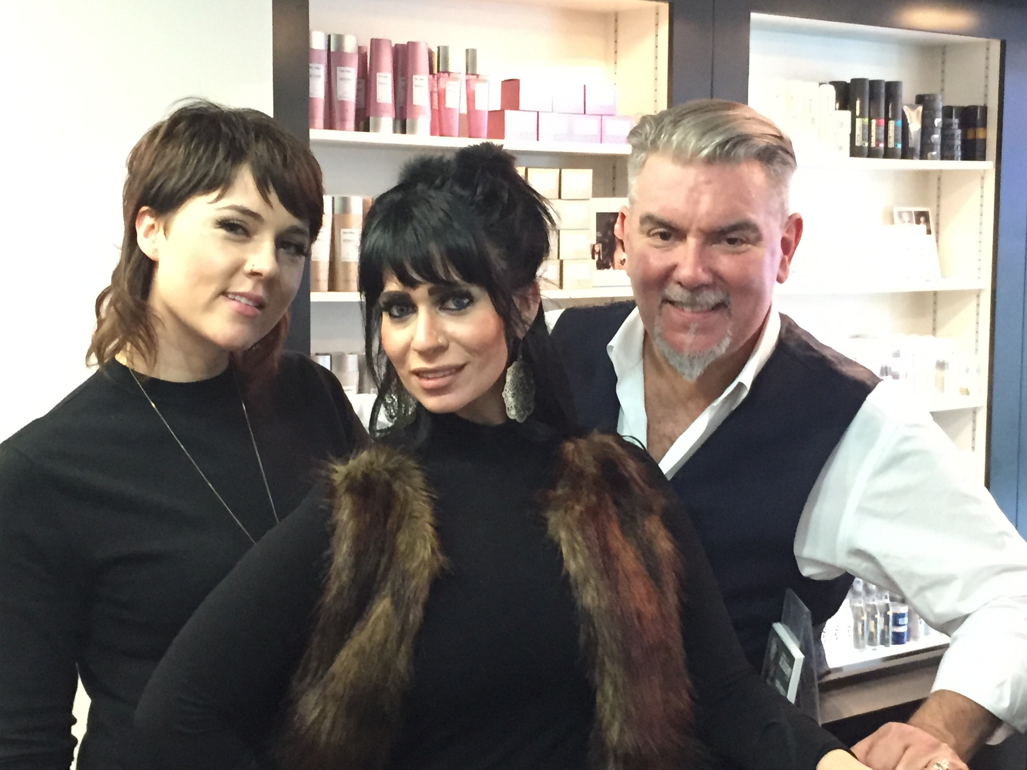 Corinne Brown, Harley LoBasso and John Moroney, the VP & Global Creative Director of KAO Global Salon Division (photo credit:  Corinne Brown, Harley LoBasso and John Moroney, the VP & Global Creative Director of KAO Global Salon Division)