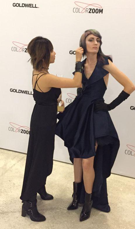 Mio Sota preps her model.