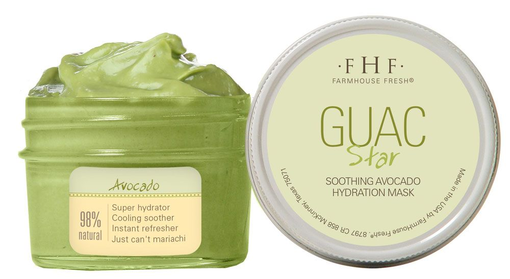 """""""Guac Star is a revitalizing and hydrating Avocado facial mask that is packed with Avocado Butter, Avocado Extracts and Avocado Oil,"""" McLinden says. """"These key ingredients deliver Omega-9 Fatty Acids, Vitamins and moisturization directly to the skin.  Parched, dry, dehydrated and sun-loving skin is instantly brought back to life!"""" ... Guac Star by FarmHouse Fresh"""
