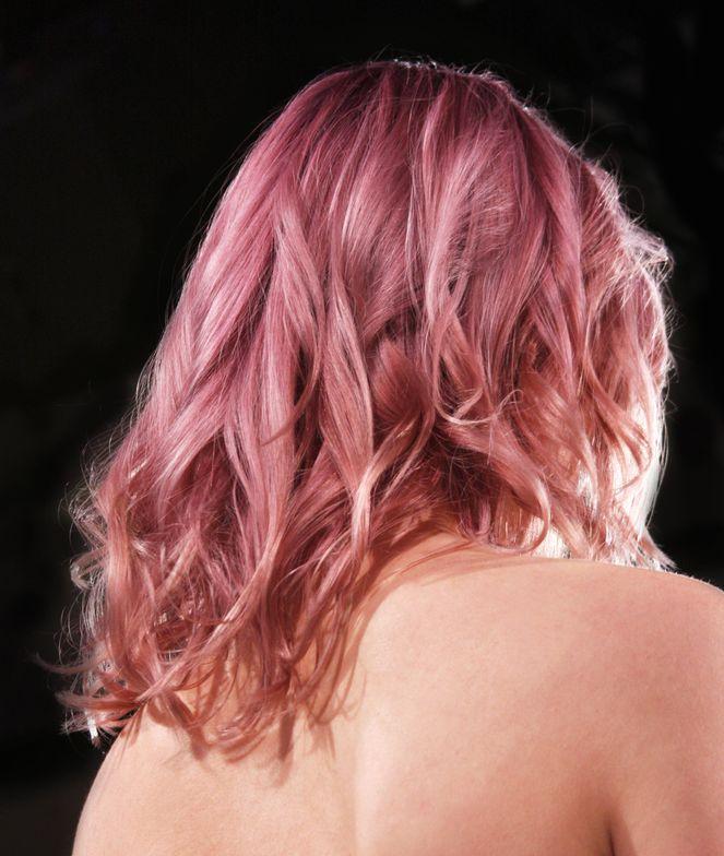 Rose gold hair color, back
