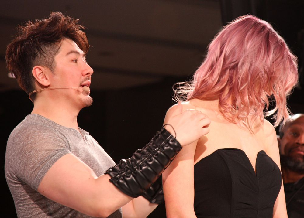 Guy Tang shows off his rose gold hair color look.