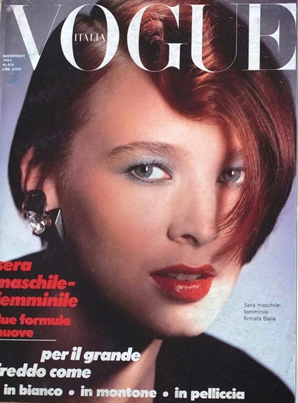 Vogue Italia Cover, 1984, with hair by John Sahag (found by Lori Bermani) | Model: Stella Goodall
