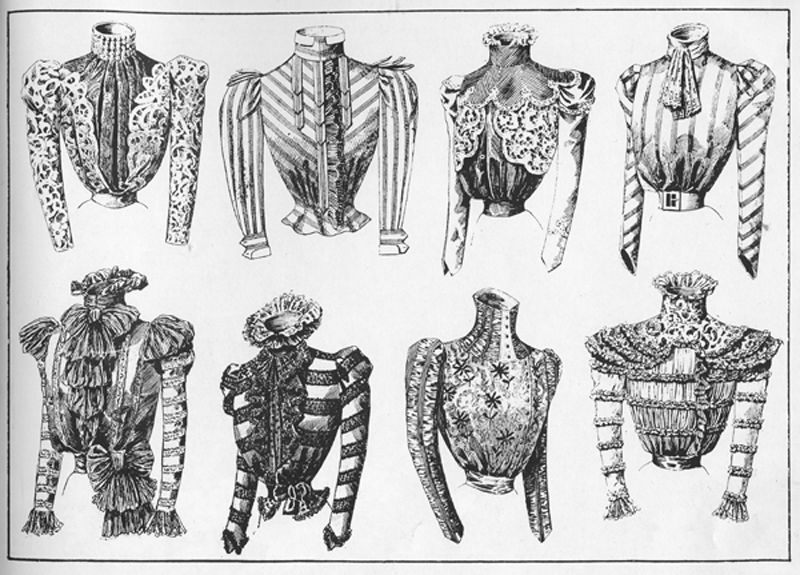 "Be inspired by the stylish blouses in these Belle Époque illustrations published in 1900 by the New York Herald. (From the ""La Belle Époque"" catalog by Phillippe Julian and Diana Vreeland for The Metropolitan Museum of Art, published in 1982.)"