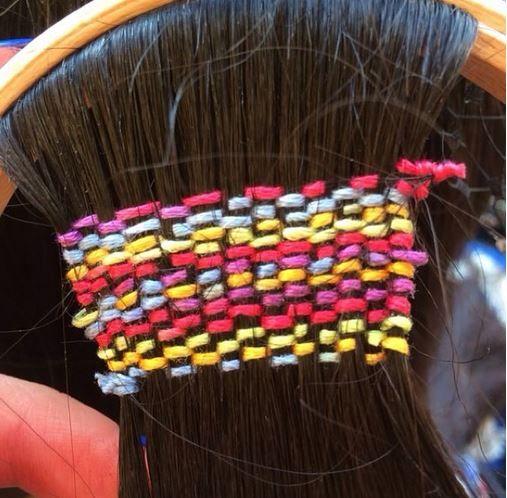 TREND: Festival Hair Tapestries -- Needlepoint For the Hair