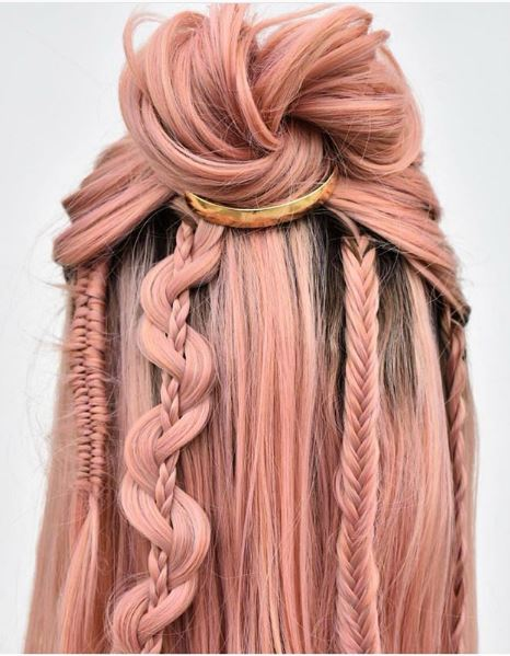 The choice of pink in this look helps the detailed style work to shine that much more.