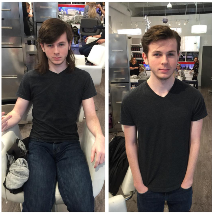 Before and after the cut, via @ginaannr on Instagram.