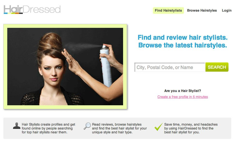 Hairdressed.com home page.