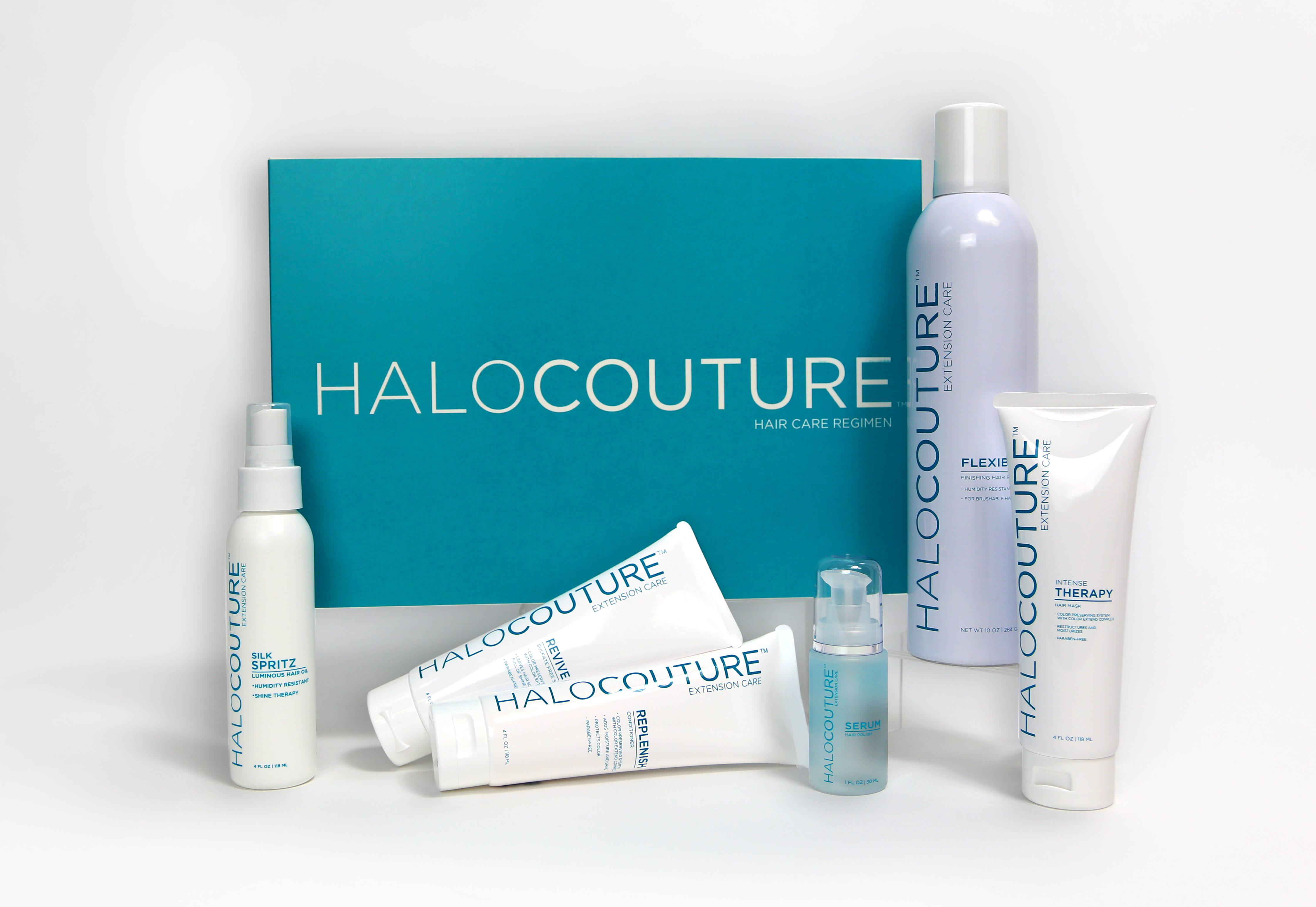 The six products in the HaloCouture Collection, which include a shampoo, conditioner, intensive hair mask, serum, silk spritz, and hairspray.