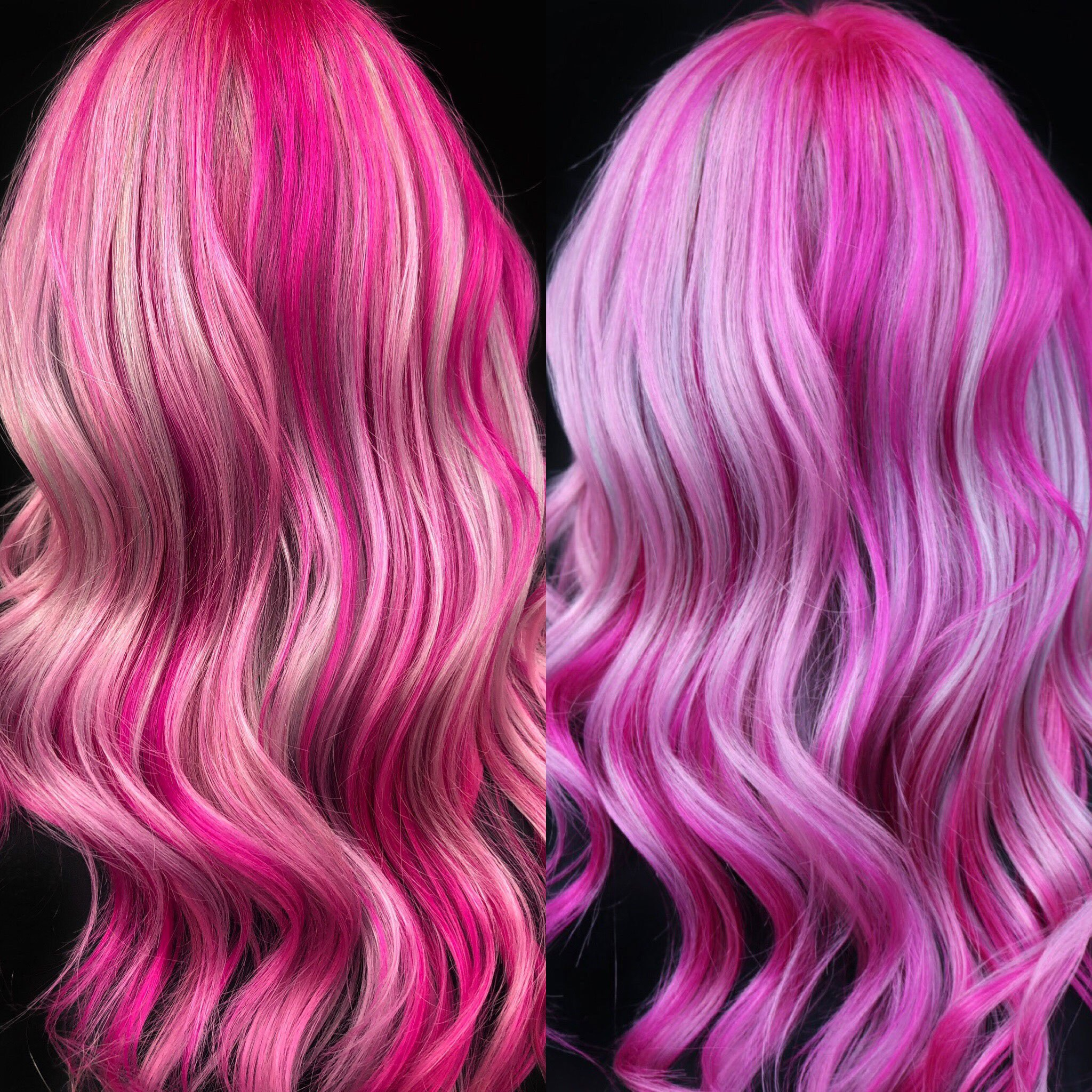 """Left: iPhone 8 Plus. Right: Canon Rebel T6i. Same outdoor natural lighting. In the image here, the color is Menor's signature pinwheel placement technique using Pulp Riot colors in mixes of Candy and Cupid, Blush, and Mercury and Nevermore. """"I finished the look with Brazilian Bond Builder locked in spray as well, as Bumble and bumble hairdresser Oil Spray and Styling Creme. Styled with my Fhi curling iron."""""""