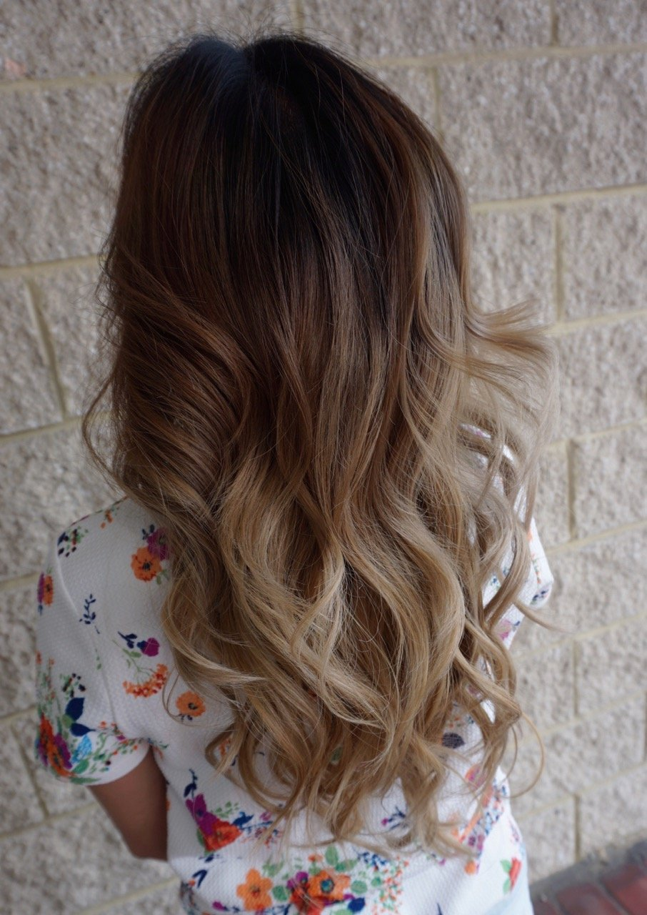 And here is our beautiful end result! A bright, smoky blonde ombre.
