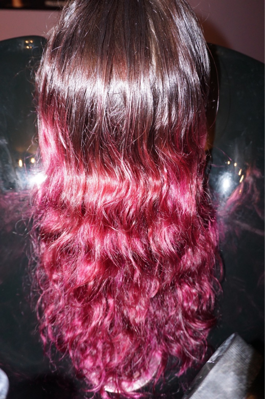 BEFORE: This guest has previously come in prior for a purple ombre. In her hair, was Joico Color Intensity Amethyst Purple & Joico Color Intensity Magenta, equal parts, as well as 4NN Paul Mitchell The Color for the base. Over time, the color has faded into a fucsia toned pink, as pictured above. The goal here was to take out as much of the purple/magenta as possible and start to transition back to her natural level 6 base.