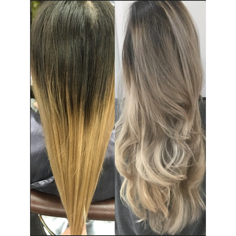 TRANSFORMATION: Brassy Ombre to Ashy Sombre