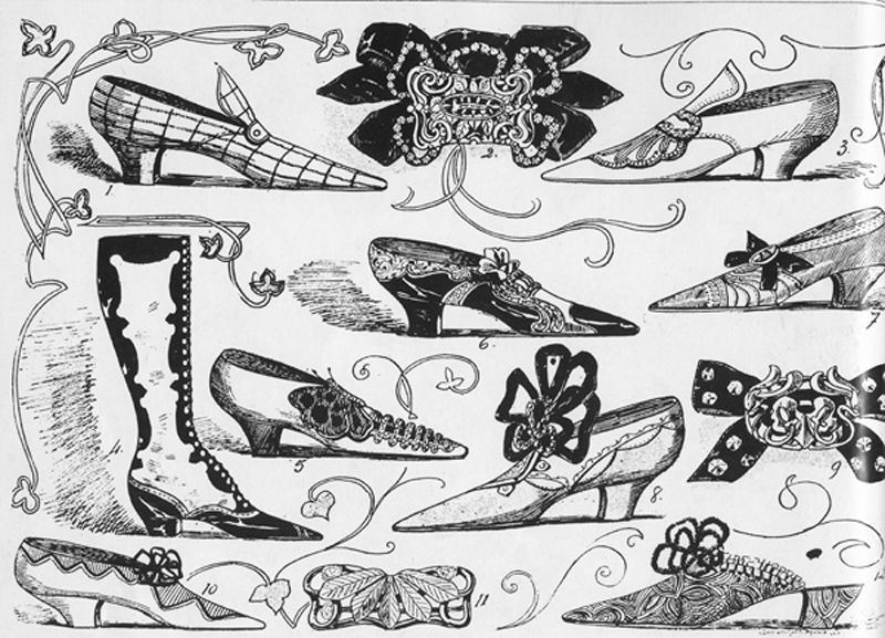 "Stylish shoes and buckles first published in 1900 by the New York Herald for its first fashion supplement instructing ladies about style and fashions of the era.  (From the ""La Belle Époque "" catalog by Phillippe Julian and Diana Vreeland for The Metropolitan Museum of Art, published in 1982.)"