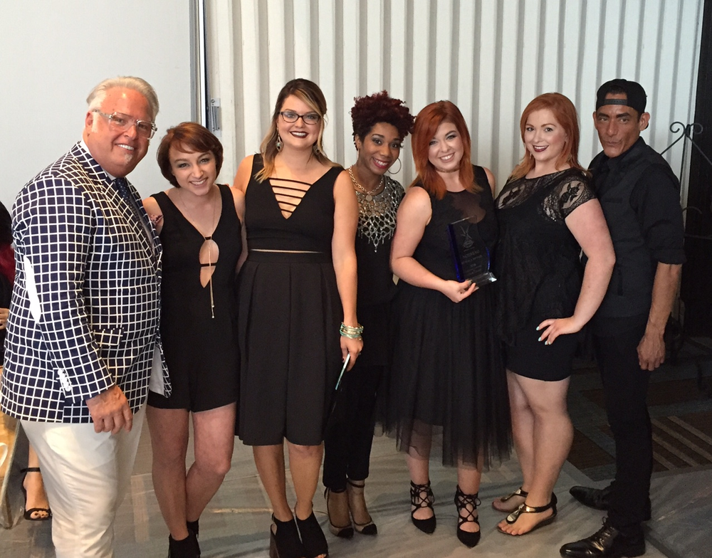 Frank Gambuzza with the finalists of the Nouveau competition. From left:  Frank Gamuzza, Tori Morsch, Anna Johnson, Kristen Harris, Alicia (Piper) Bryant, Grace Hamlin and Aaron White.