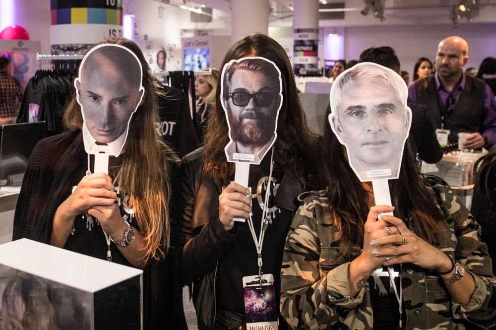 """<span style=""""font-family: Calibri, sans-serif;"""">Attendees play pretend as R+Co</span>'s Collective, Garren, Howard McLaren, and Thom Priano (@randcohair)"""