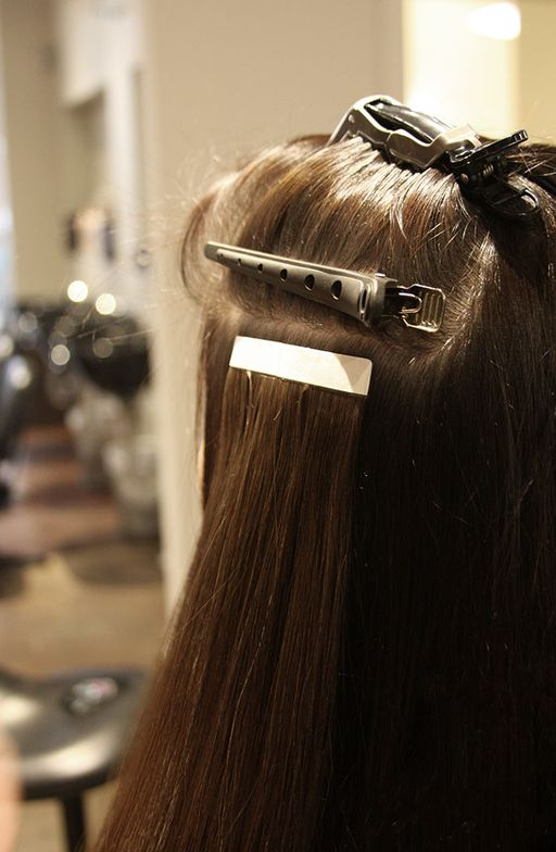 Start on the sides of the head and clip up the hair. Go at least two fingers width above the top of the ear, then you place the weft a 1/4-inch from the partline.