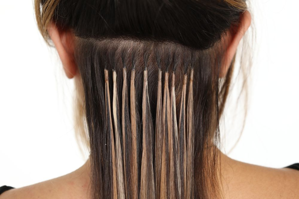 An underneath look at Donna Bella Hair's Kera-Link extensions.