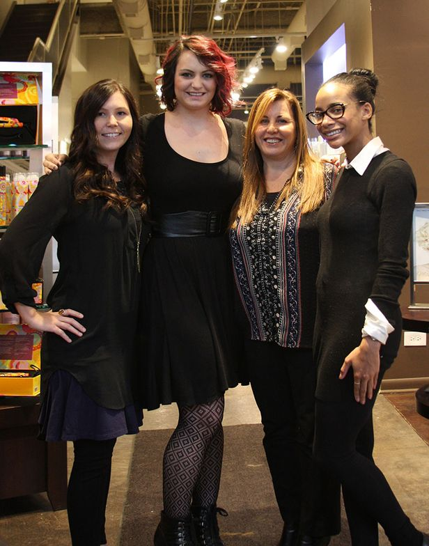 (From left) Web Editor Lauren Salapatek; Industrial Lengths Educator/Stylist/Colorist Kate Engelman; Industrial Lengths' Creator Helene March, Associate Editor Chandler Rollins