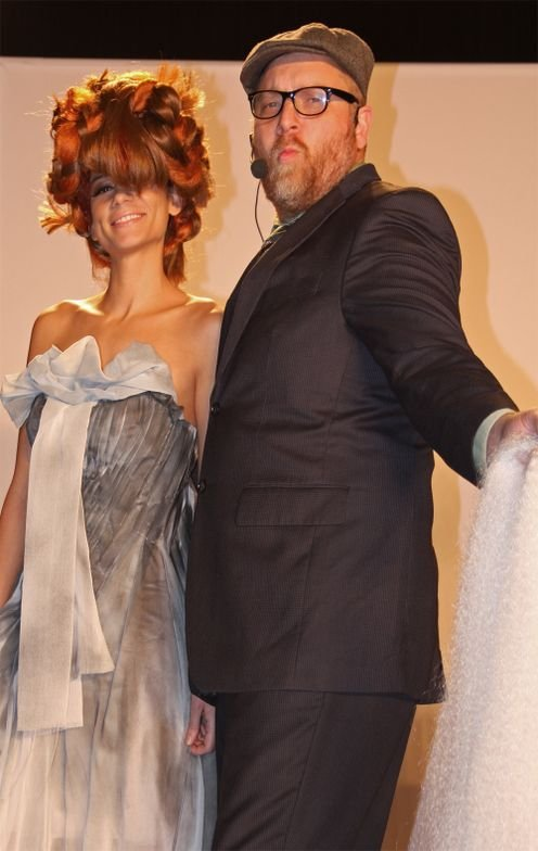Ryan Teal with model during The TEALs presentation with Jake Thompson