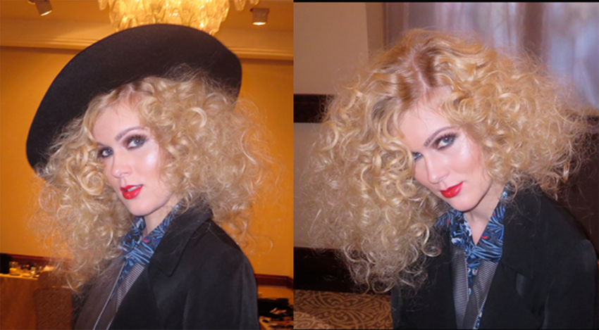 Gorgeous curly curls, at lob length, on model Morgan Cox, who wore man clothes but looked entirely feminine, even with the mannish hat, Hair: Nouveau Creative Team led by Perry Monge … Styled by Erika Garcia.