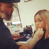 James Vincent doing Jordyn Woods' makeup for NYFW.