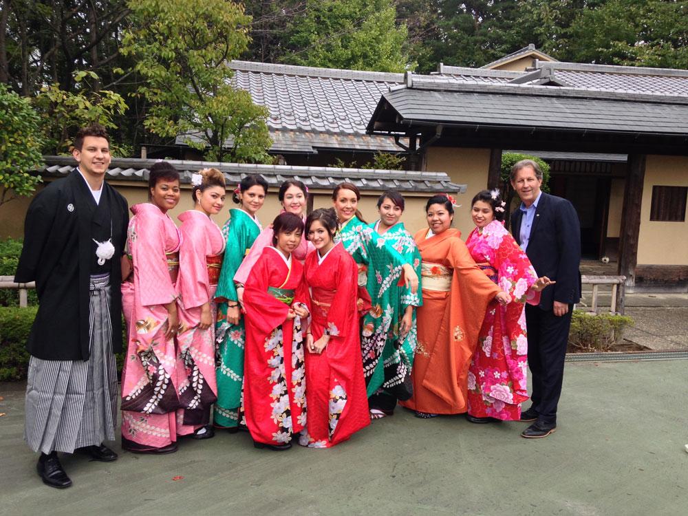 The Pivot Point Chicago crew poses in their kimonos.