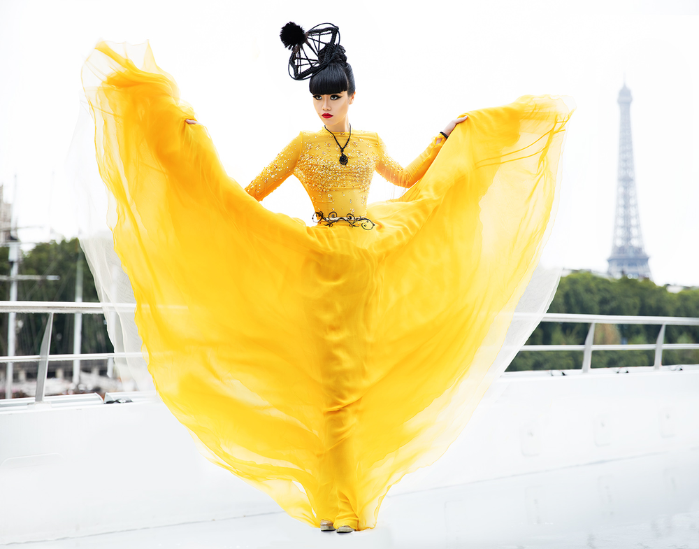 Preview of fashion to be shown at the next show in Paris, shot along the Seine. Fashion: Dany Atrache & Satellite Paris