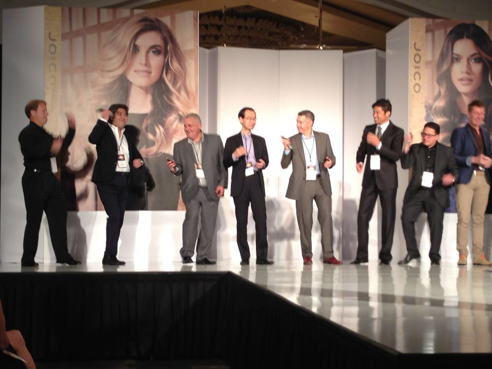 At the Joico Global Conference, members of the international sales team are invited onstage to do their own version of Joico Hair Shake.