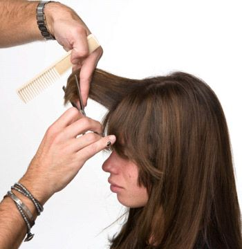 To create the fringe, direct ¼-inch sections forward and project 90 degrees. Using a thinning shear, cut to leave a long, soft bang.