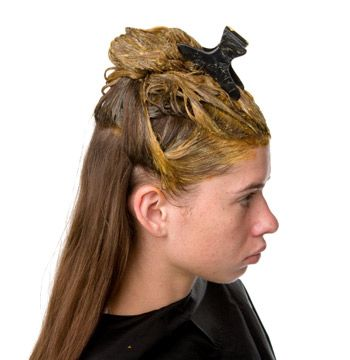 Filler is applied to the blonde pieces only. Process for 10–15 minutes; then rinse and dry the hair.