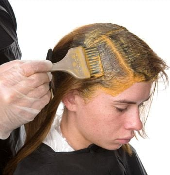 Apply to the root area in ½-inch sections: ½ oz N4 and ½ oz G6 (a chocolate brown)