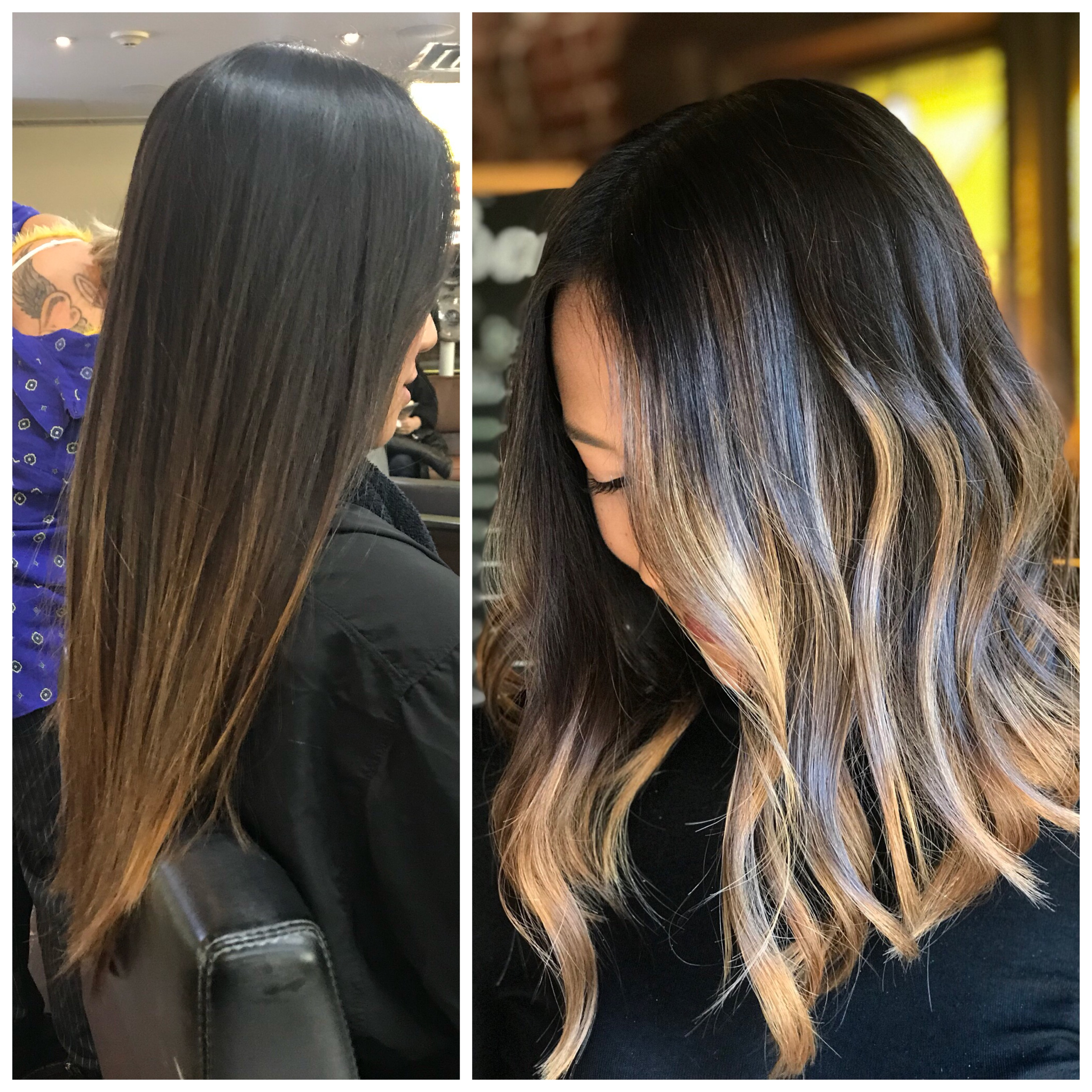This before and after by Jon Frawley of Bangz Salon and Wellness Spa in Montclair, New Jersey shows bold balayage. Jon Frawley @jonnystylez