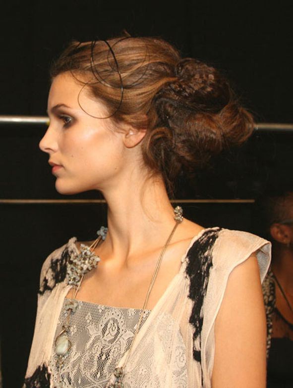 Kind of Belle Époque,  beautiful, nostalgic vintage-like hair and fashions in this photo were created by Jon Reyman, Aveda, and Argentine designer, Laura Valenzuela for the Argentine Designers NY Fashion Week Show, Spring 2011.  Photography: Helen Oppenheim