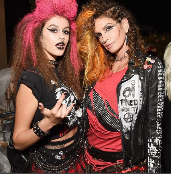 Supermodel Cindy Crawford and her daughter, Kaia Gerber, prove that punk definitely isn't dead. Hair by Peter Savid (@peter.savic) and.makeup by Anthony H. Nguyen (@anthonyhnguyenmakeup).