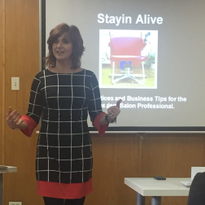 Kathy Jager discussed business, beauty and balance for solo artists at her class onMonday,...