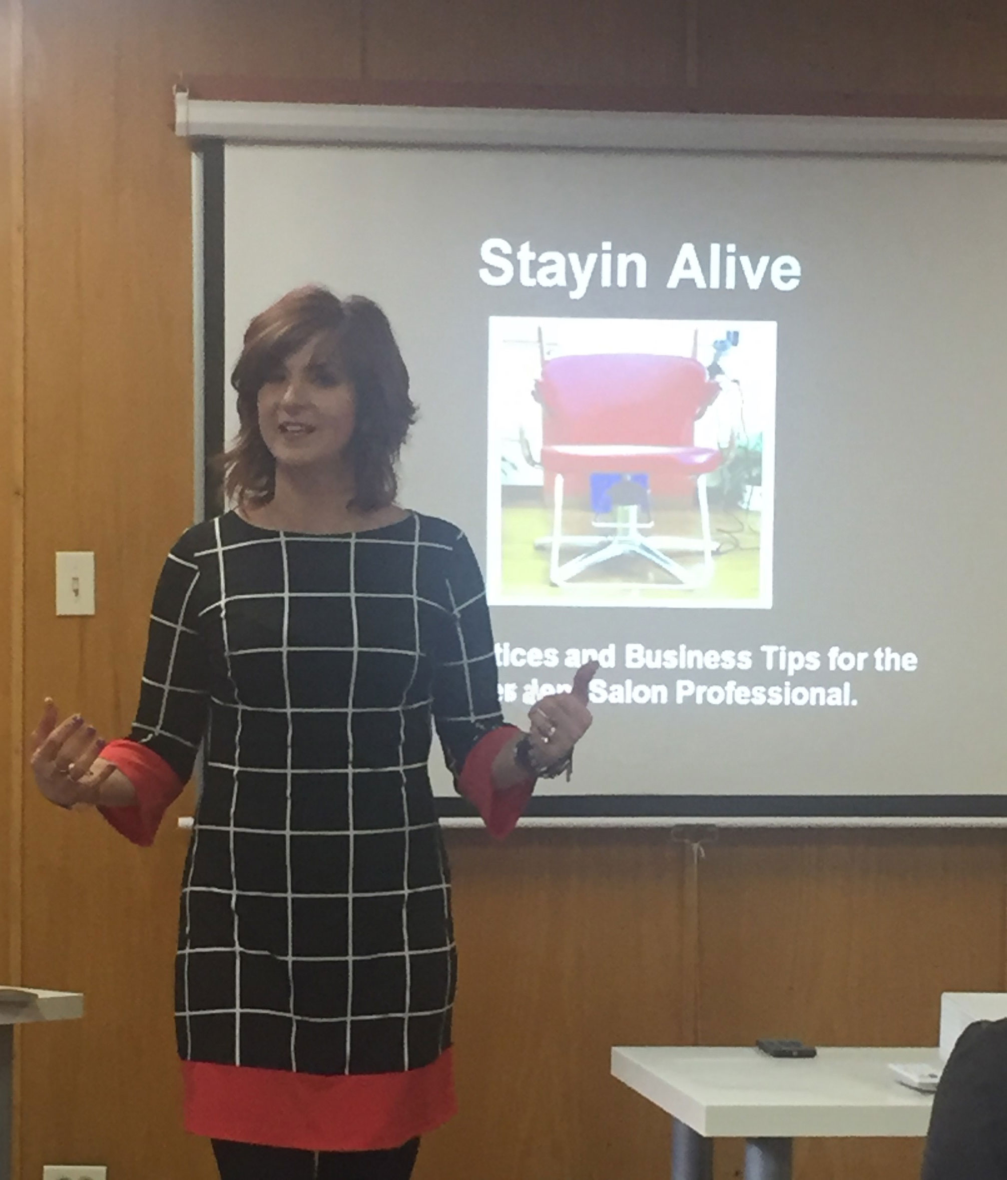 Kathy Jager discussed business, beauty and balance for solo artists at her class on Monday, April 24th at the John Amico Beauty Product Showroom and Educational Resource Center in Oak Forest, Illinois.