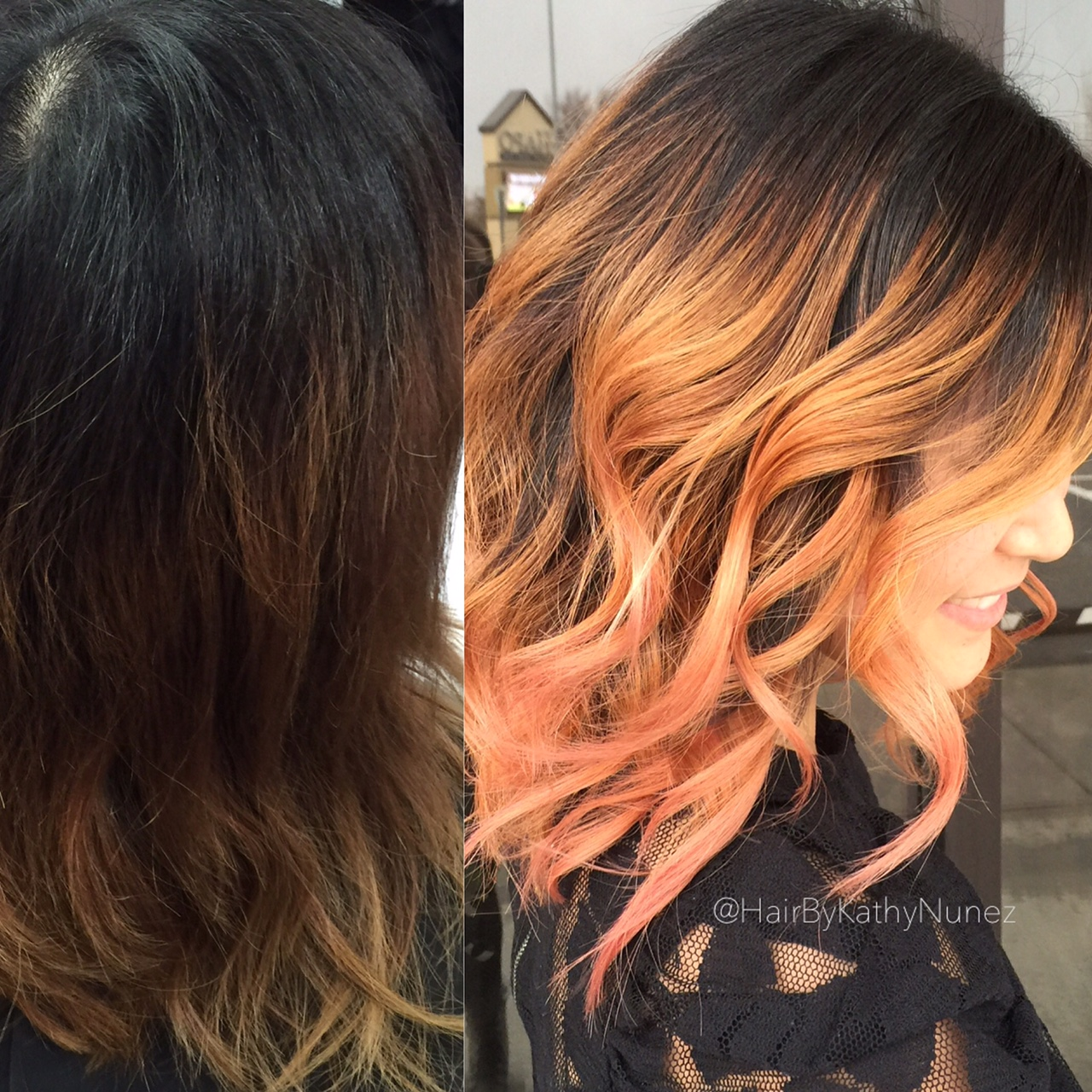 TRANSFORMATION: Faded Ombre To Apricot Sombre