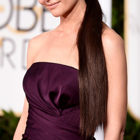 2015 Golden Globes How-to: Katie Holmes' Deep-Parted Low Ponytail