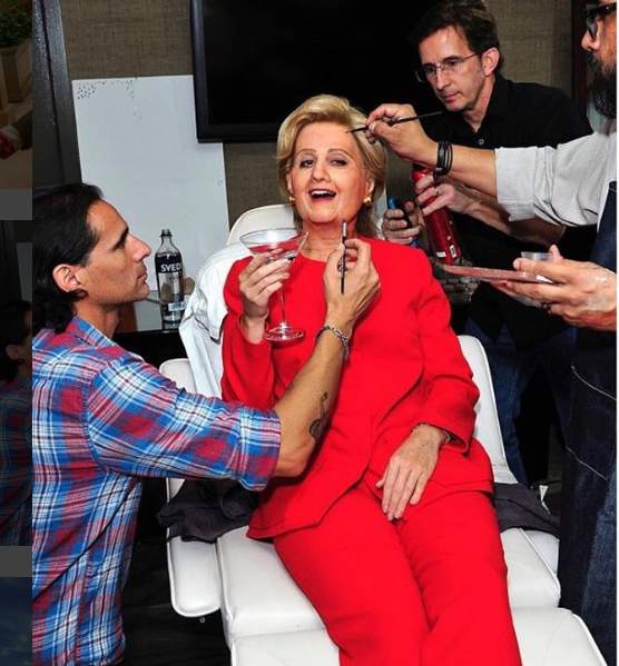 We knew Katy Perry was part of the #ImWithHer gang, but this takes it to a whole new level. Hair by Tony Gardner (@tonygardner), makeup by Gabriel De Cunto (@makeup_man), prosthetics by Carlton Coleman (@carltoncoleman_makeupfx) and @mthreemfx.