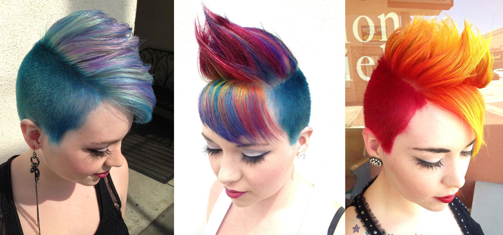 L-->R: Mint blue, macaw-inspired, fire hair