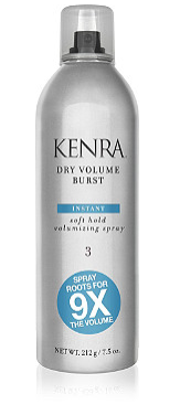 <strong>Kenra Dry Volume Burst 3: </strong> <p>instantly provides 9X the volume in a dry application, this soft hold spray is ideal for creating styles with superior body and tousled texture.</p>