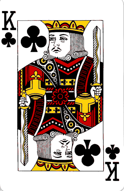 The King Of Clubs has a moustache.