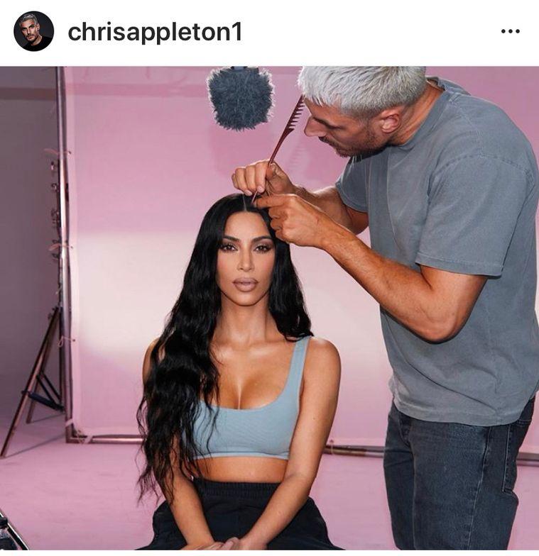 Chris Appleton puts the finishing touches on Kim Kardashian.