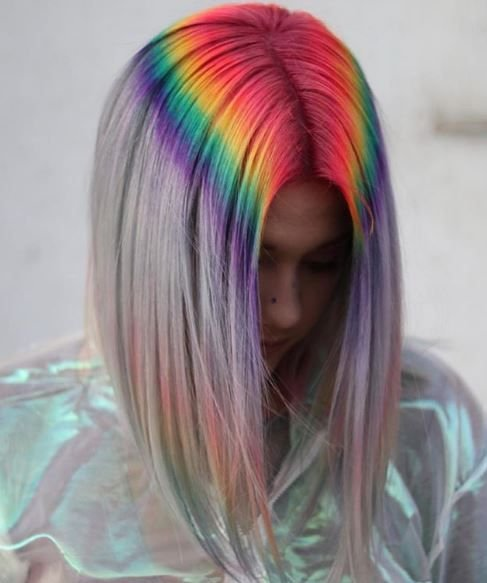 Hello, beautiful! This rainbow color effect on the roots melting downward surely turns heads.